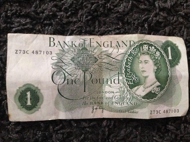 Bancnota ONE POUND , seria Z, anul 1970, foarte rară