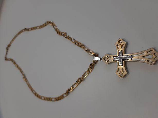 Lanț cu cruce placat cu aur