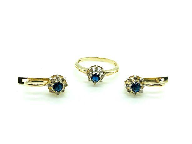 Комплект кольцо с камнем и серьги с камнем, золото 585 (14K).