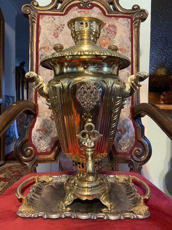 Роскошный антикварный царский самовар Баташева с гербом!