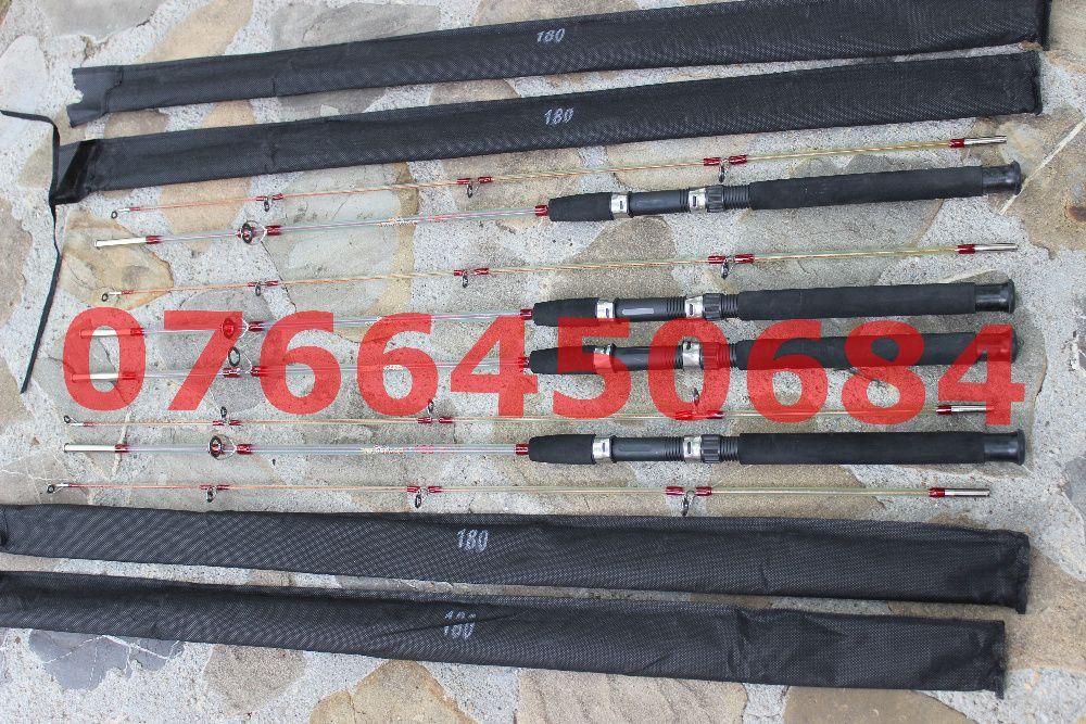 Set 4 Lansete Fibra Plina 1.8 Metri Scurte Pescuit Dunare Rau Barca