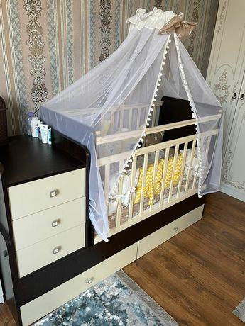 Кроватка-Трансформер манеж детская для новорождённых. Полный комплект!