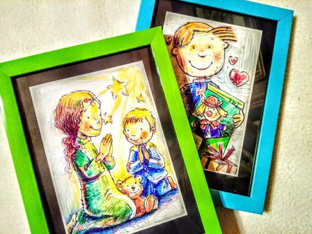 Tablouri făcute de copii, înrămate, cu mic passpartout/Dim.Int.13x18cm