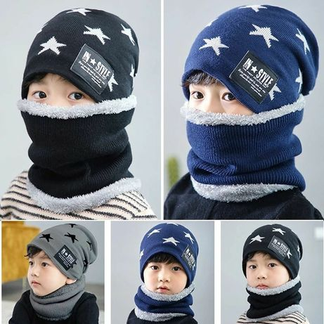 Детский шапка  2в1 (5-11лет) детские шапка шарф вещ падарка