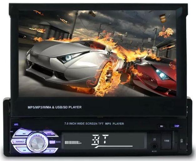 """Casetofon DVD auto cu ecran retractabil 7"""" 1Din Usb Card Bluetooth Bucuresti - imagine 1"""
