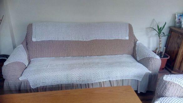Плетена на 1 кука кувертюра за троен диван и 2 фотьойла