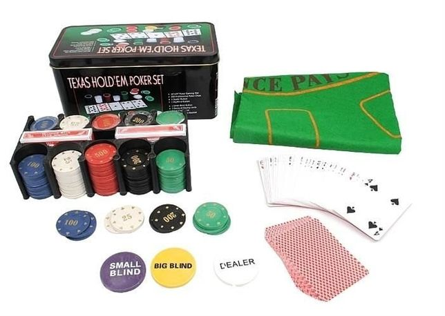Set Poker Texas Hold'em 200, jetoane si carti, cutie metalica