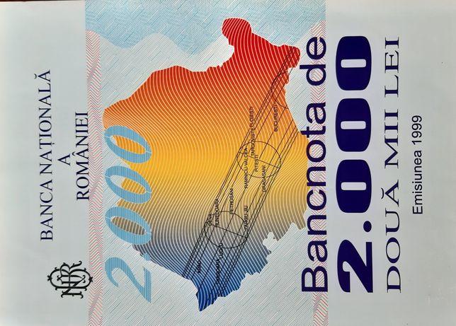 Bancnotă 2000 lei cu eclipsa,  necirculata,  seria 001A