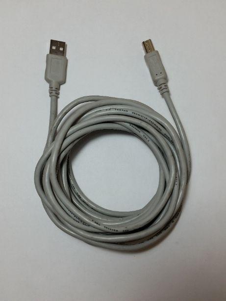 Кабель USB 2.0 Type A-B длина кабеля 5 метров серый