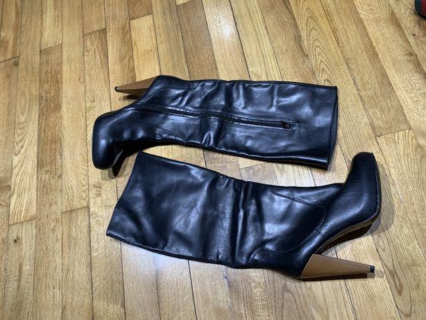 Cizme Zara negre piele paltforma 39