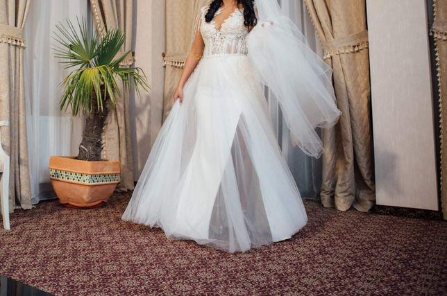 rochie de mireasa 2 in 1 culoare ivory