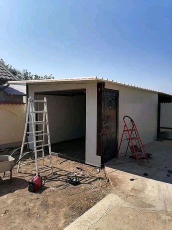 Garaje case de locuit pe structura metalica învelite cu panouri case