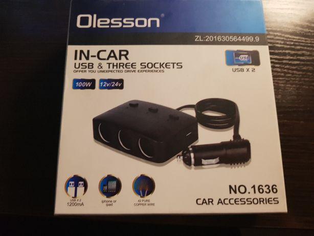 Тройник прикуриватель(разветвитель) OLESSON 1636 для авто с 2мя USB
