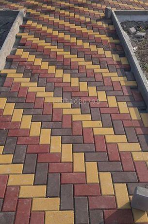Прессованная (вибропрессованная) брусчатка, тротуарная плитка.