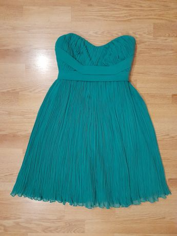 Rochie de ocazie, verde crud, plisse
