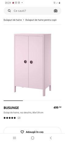 Dulap Busunge roz copii, comoda, masa, etajera camera copil