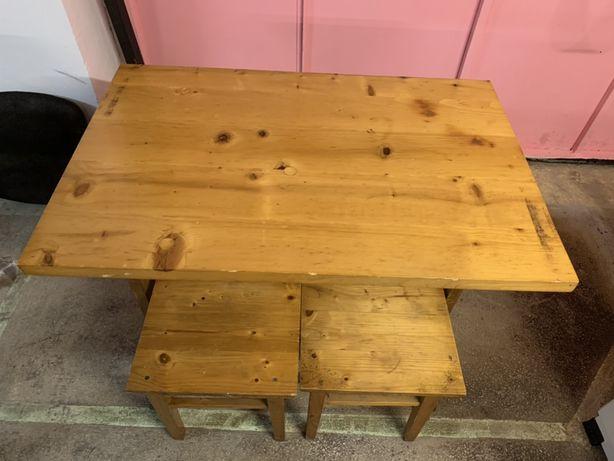 Masa+4 scaune lemn natural