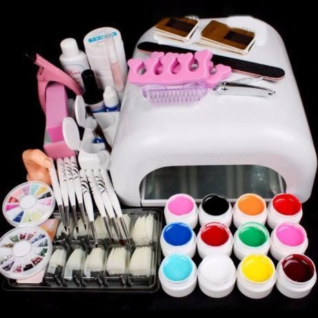Kit Manichiura Set Unghii False Gel uv Lampa 36w 12 GELURI COLOR