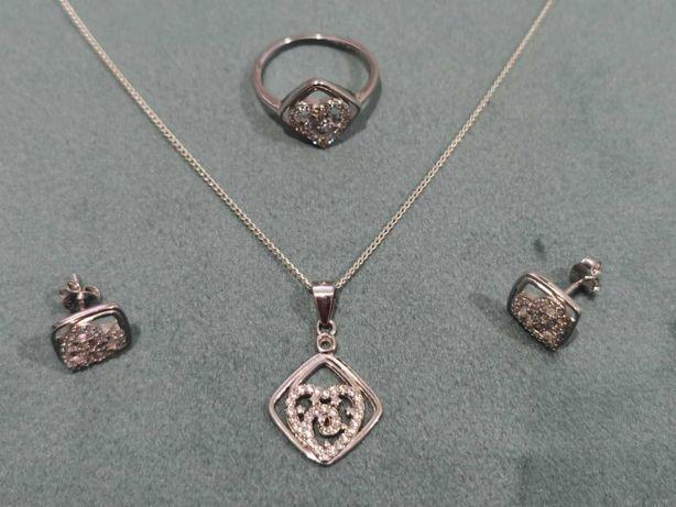 Set argint 925 - lant, pandantiv, cercei si inel - cadou femei