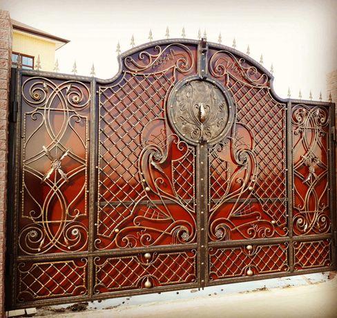 Кованые, ажурные металлические ворота, решетки, беседки.