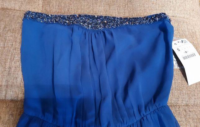 Синее платье в пол без лямок ZARA