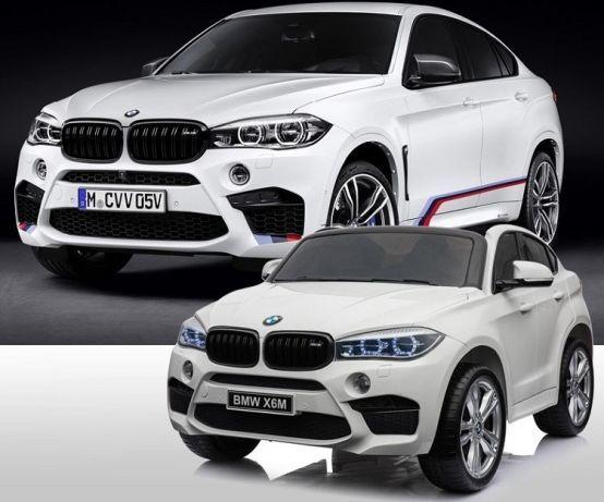 Masinuta electrica pentru copii BMW X6M cu doua locuri, culoare alb