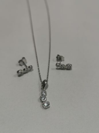 Set bijuterii argint - cadou dama - lant, pandantiv si cercei