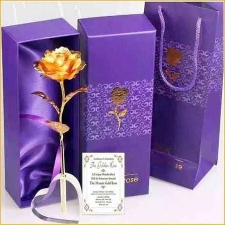 24 K Златна роза - Вечно цвете оригинален подарък за учителка, люби да