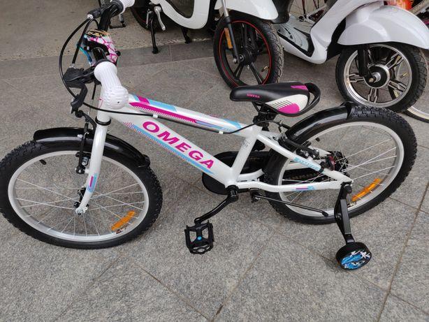 "Bicicleta 20"" Omega Alb cu Roz"