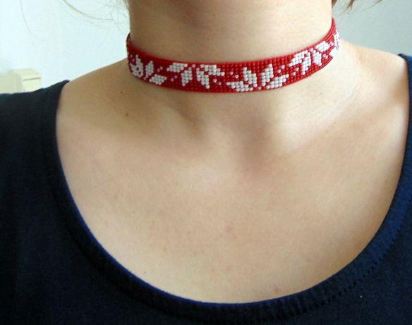Zgardana margele handmade traditionala Red Flowers