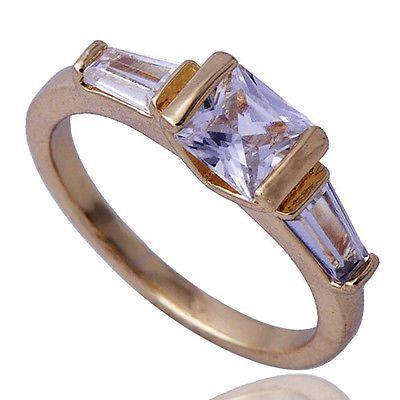 GR122,inel placat aur 18k, mode logodna, zircon alb fatetat Bucuresti - imagine 1