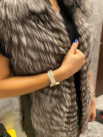 Vesta din blana naturala vulpe argint
