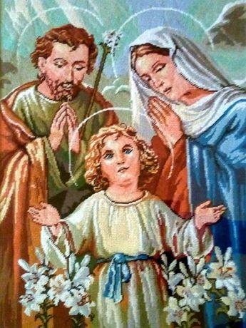 Goblen Sfânta familie, 30 x 40 cm suprafață cusută, 23 culori, cu ramă