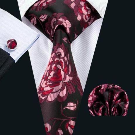 Set cravata matase butoni+batista model floral+ cutie cadou