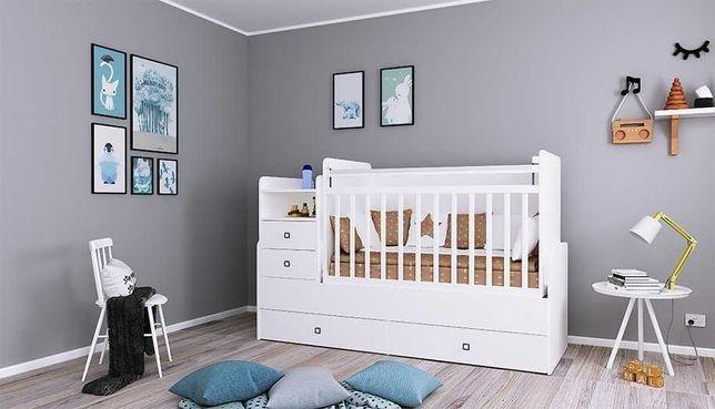 Новая Кроватка-трансформер манеж детская Фея 1414 для новорожденных