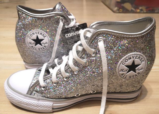 Converse All Star Lux Mid Sports Shoes Silver Glitter noi 38.5