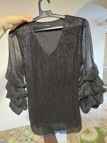 Cămașă/bluza din voal satinat  negru
