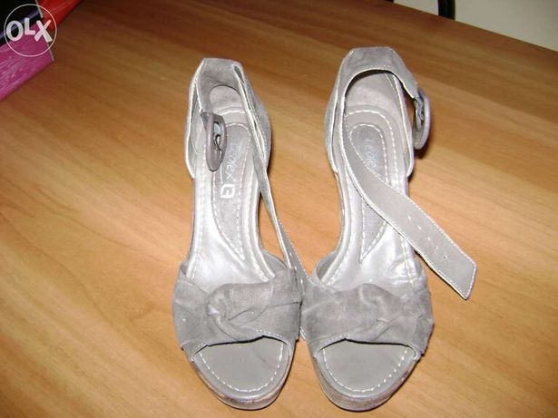 Sandale gri velur piele 370 Leofex