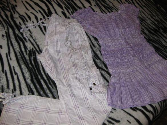 Комплект Спортен панталон/Блузка-В лилаво/бяло