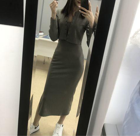 Облегабщее платье Миди + кофта