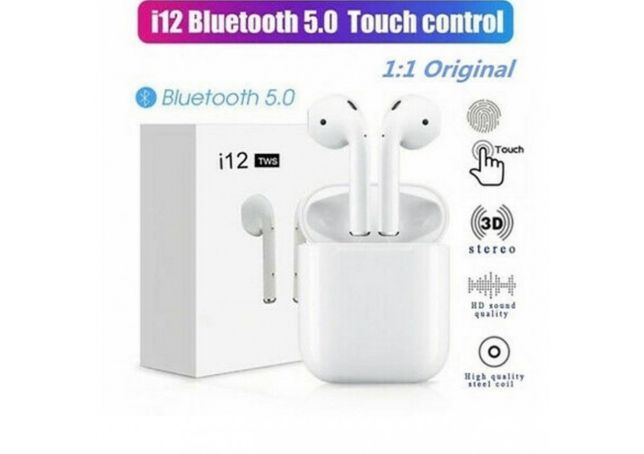 Casti Bluetooth Touch control, Wireless i12 Profesionale, Compatibile
