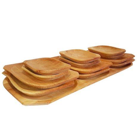 Set platou 13 piese set rustic din lemn