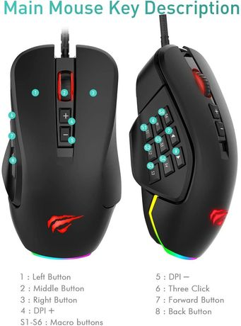 Mouse Gaming cu fir HAVIT RGB - HV-MS760 - 10000 DPI - NOU