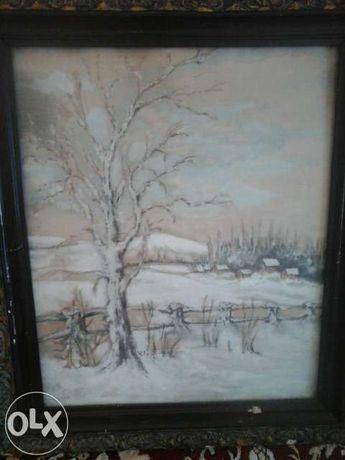 tablou,peisaj de iarnă