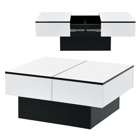 Masuta de cafea extra lucios negru/alb 40x80x60cm Nou Promo