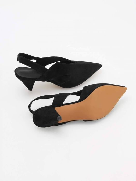 pantofi negri eleganti piele naturala negri marime 38 decupati spate Bragadiru - imagine 1