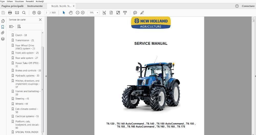 Manual carte service New Holland T6.120 T6.140 T6.150 T6.155 T6.160 Plesoiu - imagine 1