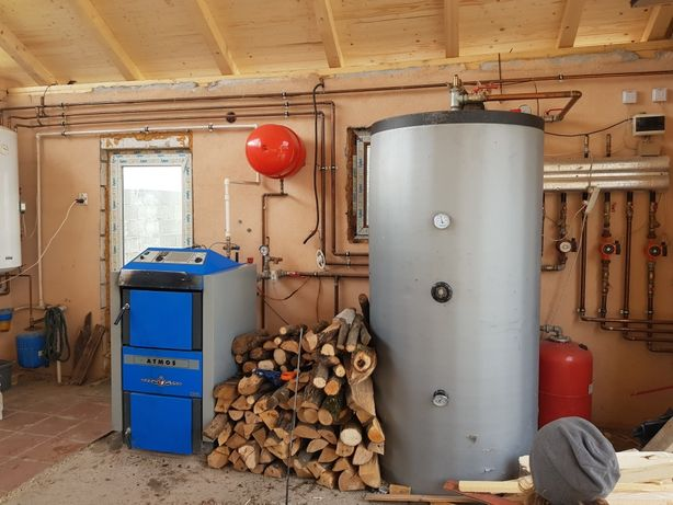 Centrala atmos pe lemne40kw+coș inox