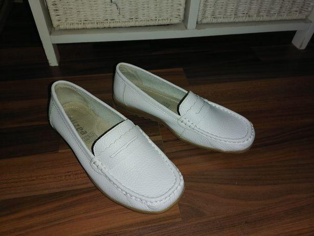 Pantofi albi, josi, dama de piele Alizee, nr 38