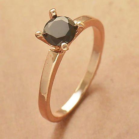 GPR399, inel placat aur 18k, model logodna, zirconiu negru